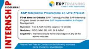 First time in Odisha ERP Training provides SAP Internship Program