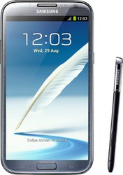The Samsung Galaxy Note II is a titanium gray colored smartphone runni