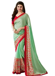 Green Casual Georgette Floral Printed Saree For Women